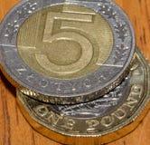 Польский злотый 5 na górze одной монетки английского фунта a Стоковые Изображения