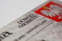 Польское удостоверение личности стоковое изображение rf