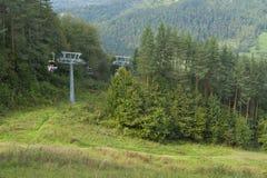 Польша, горы Pieniny, подвесной подъемник в лете Стоковое Изображение RF