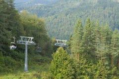 Польша, горы Pieniny, подвесной подъемник в лете Стоковые Фото