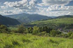 Польша, панорамное Viev горной цепи Gorce, эффектное Clou Стоковое Изображение