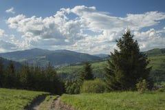 Польша, панорамное Viev горной цепи Gorce, эффектное Clou Стоковые Изображения RF