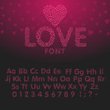 Полюбите алфавит с письмами и номерами сердца Стоковые Фотографии RF