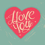 Полюбите вас, руку написанная литерность Романтичная каллиграфия Стоковые Фотографии RF