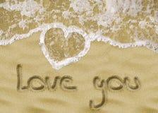 Полюбите вас сочинительство песка Стоковое Фото