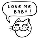 Полюбите меня младенец! Голова кота шаржа речи персоны пузыря вектор графической говоря также вектор иллюстрации притяжки corel Стоковая Фотография RF