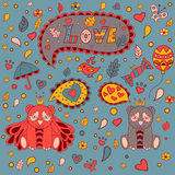 Полюбите флористическую рамку, doodle вектора карточка 2007 приветствуя счастливое Новый Год иллюстрация штока