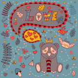 Полюбите флористическую рамку, doodle вектора карточка 2007 приветствуя счастливое Новый Год Стоковое Изображение
