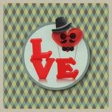 Полюбите характер человека воздушного шара сердца на винтажной предпосылке Стоковые Изображения