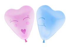 Полюбите человека и женщины воздушного шара сердца с путем клиппирования Стоковые Фотографии RF