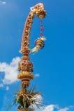 Поляк для торжества Galungan, остров Penjor Бали, Индонезия Стоковое Изображение RF