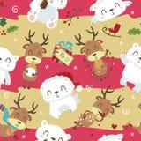 Полярный медведь стиля шаржа милый и картина оленей безшовная Стоковое Фото