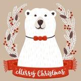 Полярный медведь с с Рождеством Христовым надписью Стоковые Фото