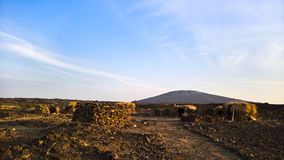 Поля лавы вокруг вулкана эля Erta, Danakil, Afar, Эфиопия Стоковые Фото