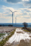 Поля и ветротурбины Стоковое Фото