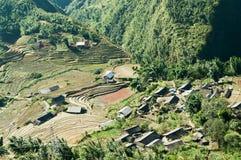 Поля села и рисовых полей. Sapa. Вьетнам Стоковое Фото