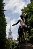 Пол Revere статуя в Бостоне, Массачусетсе Стоковое фото RF