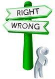 Правая или неправильная концепция Стоковая Фотография