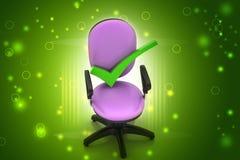 Правая метка сидя удобный стул компьютера иллюстрация вектора