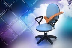 Правая метка сидя удобный стул компьютера иллюстрация штока