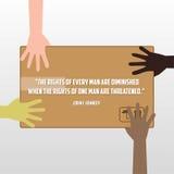 Права человека день, плакат, цитаты, шаблон Стоковое Изображение RF