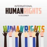 Права человека день, плакат, цитаты, шаблон Стоковое фото RF