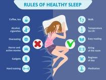 Правила здорового сна Иллюстрация infographics вектора Милая девушка спать на кровати Полезные подсказки для ` s спокойной ночи иллюстрация штока