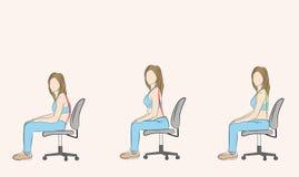 Правильная и неправильная позиция сидя на стуле медицинские рекомендации также вектор иллюстрации притяжки corel стоковое фото