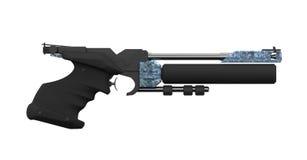 правильная позиция профиля пушки воздуха атлетическая черная стоковое изображение rf