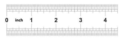 Правитель 4 дюйма имперский Цена разделения 1/32 дюймов Двойник правителя встал на сторону Точный измеряя инструмент Решетка тари иллюстрация штока