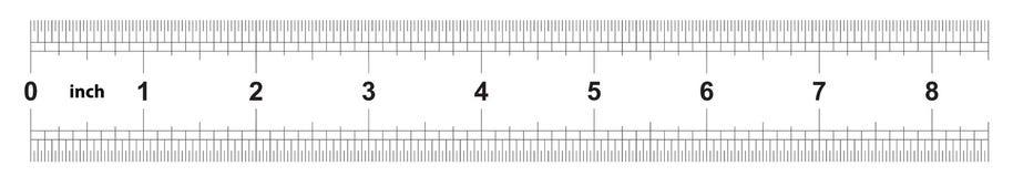 Правитель 8 дюймов имперский Цена разделения 1/32 дюймов Двойник правителя встал на сторону Точный измеряя инструмент Решетка тар иллюстрация вектора