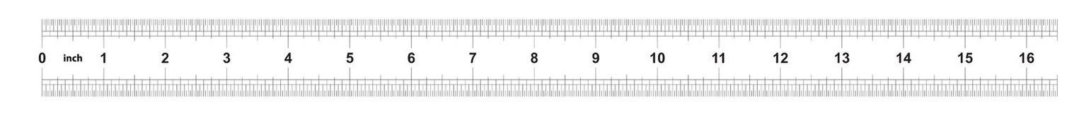 Правитель 16 дюймов имперский Цена разделения 1/32 дюймов Двойник правителя встал на сторону Точный измеряя инструмент Решетка та иллюстрация штока