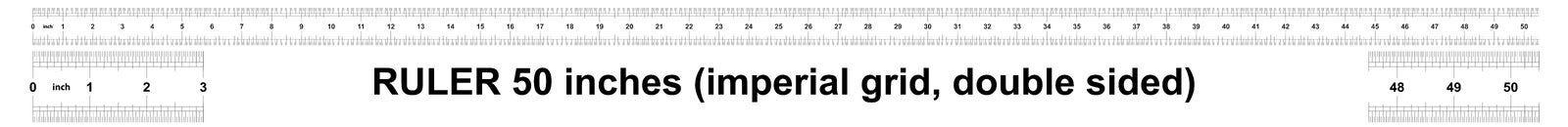Правитель 50 дюймов имперский Цена разделения 1/32 дюймов Двойник правителя встал на сторону Точный измеряя инструмент Решетка та иллюстрация вектора