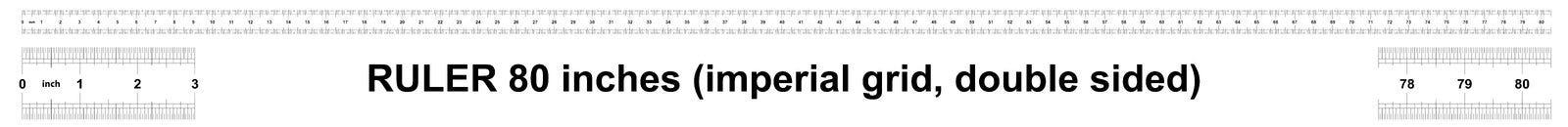 Правитель 80 дюймов имперский Цена разделения 1/32 дюймов Двойник правителя встал на сторону Точный измеряя инструмент Решетка та иллюстрация штока