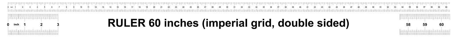 Правитель 60 дюймов имперский Цена разделения 1/32 дюймов Двойник правителя встал на сторону Точный измеряя инструмент Решетка та бесплатная иллюстрация