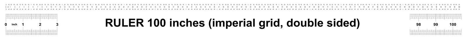 Правитель 100 дюймов имперский Цена разделения 1/32 дюймов Двойник правителя встал на сторону Точный измеряя инструмент Решетка т иллюстрация вектора