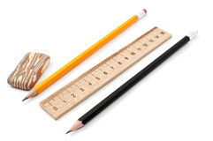 правитель карандаша истирателей Стоковая Фотография RF