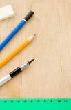 правитель карандаша пер Стоковая Фотография RF