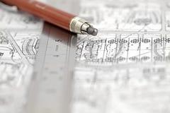 правитель плана карандаша зодчества Стоковое Фото