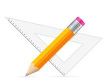 Правитель и карандаш треугольника Стоковое Изображение RF