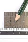 Правитель карандаша и нержавеющей стали Стоковое Изображение