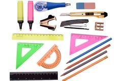 Правитель карандаша ручки канцелярские товаров, изолированный на белой предпосылке Стоковые Фотографии RF
