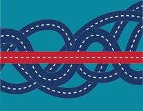 Правильный путь в confused дороге Иллюстрация дела концепции стоковое фото rf