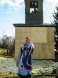 Правоверное богослужение около виска в зоне Kaluga в России (2014) Стоковые Изображения RF