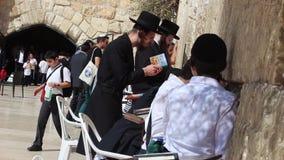 Правоверный еврей моля с страстью на западной стене в Иерусалиме Израиле видеоматериал