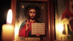 Правоверный значок Иисуса Христоса сток-видео