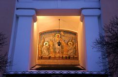 Правоверный значок собора воскресения хозяина в Москве Стоковое Изображение