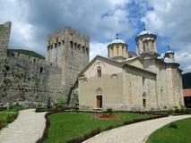 Правоверный монастырь Manasija в Despotovac, Сербии стоковое фото