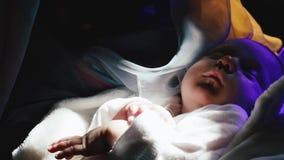 Правоверный, христианство, церковь Мать выглядит как падуб Mary стоя со спать ребенком на ее оружиях в церков видеоматериал