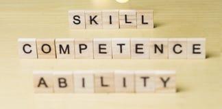 Правомочность способности навыка, концепция цитат слов дела стоковые изображения rf